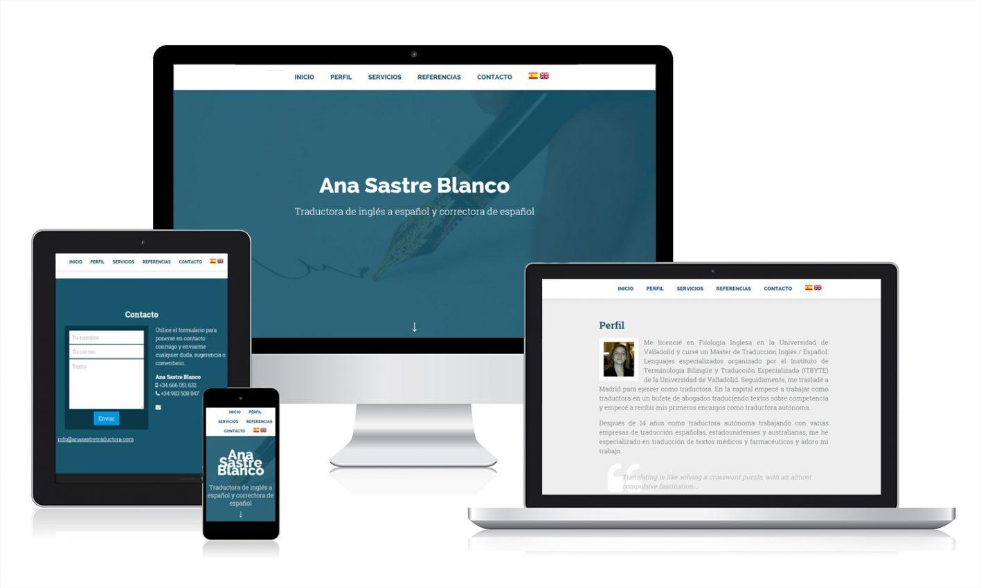 Diseño página web Ana Sastre Traductora