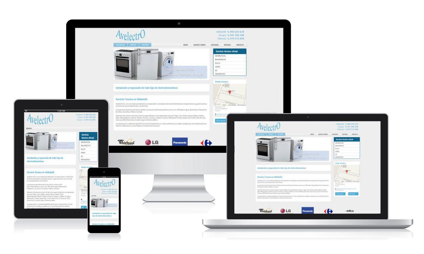 Diseño web página web para Avelectro