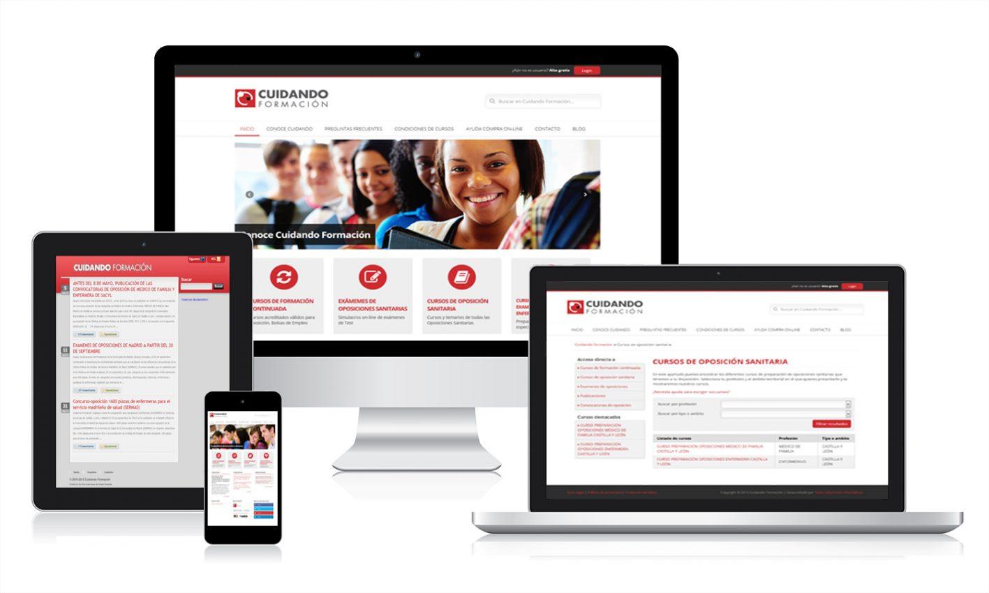 Desarrollo página web Cuidando Formación