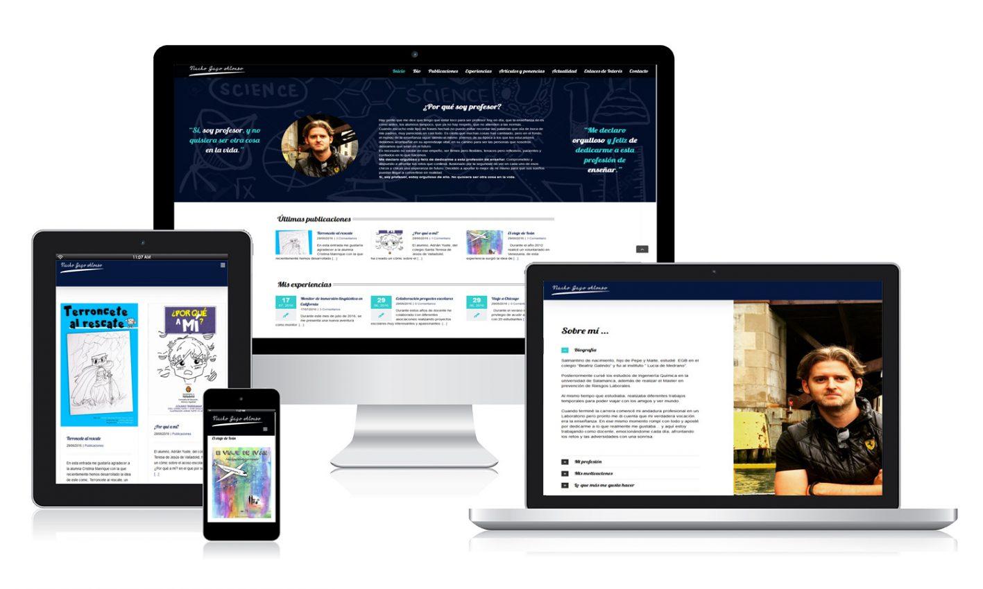 Diseño página web personal para Nacho Gago