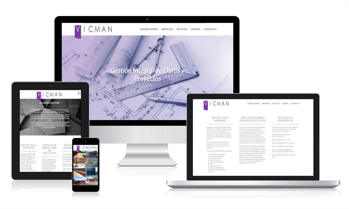 Desarrollo página web para Vicman Gestión