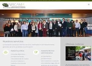 Captura de página de inicio de Artecam.org