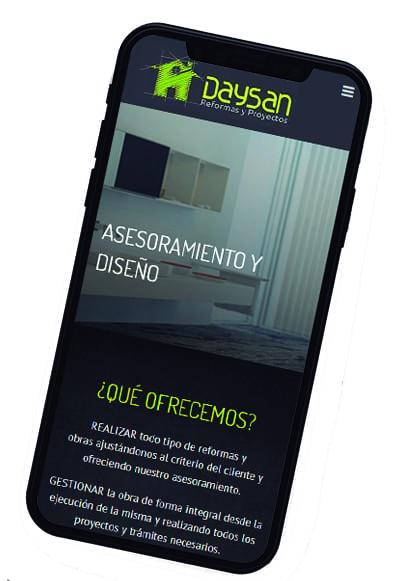 Responsive móvil de la web corporativa Daysan Reformas y Proyectos