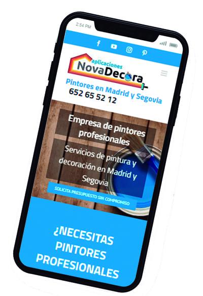 Diseño responsive de la pagina web Novadecora