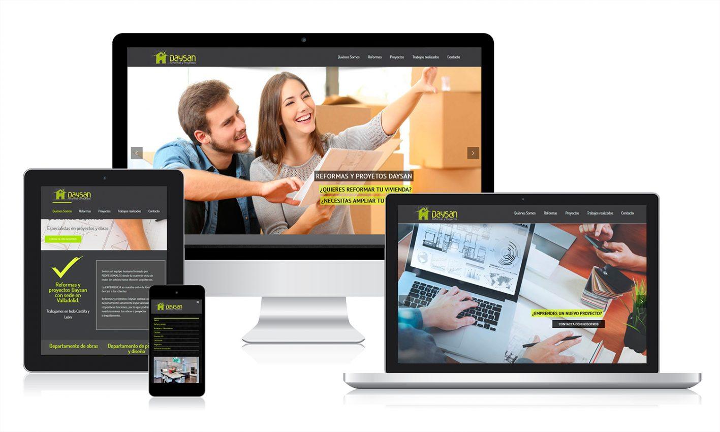 Diseño resoponsive en diferentes pantallas para web Daysan