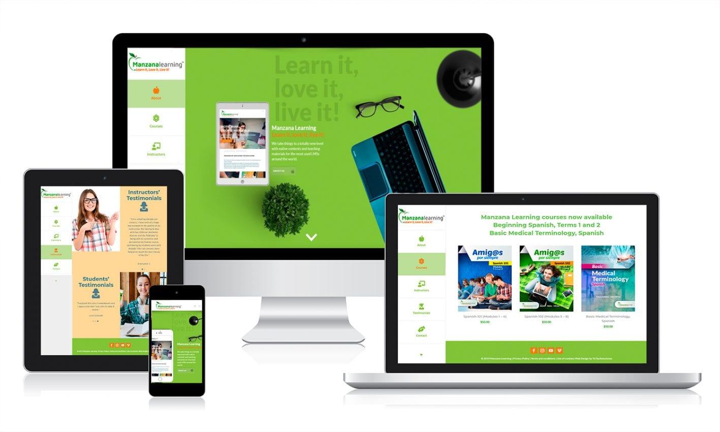 Desarrollo web con comercio electrónico para Manzana Learning